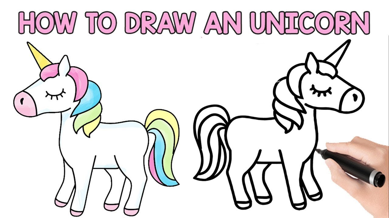 How To Draw Unicorn Drawing A Cute Unicorn Learn Colors With