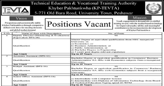 TEVTA KPK Jobs 2020 Technical Education & Vocational Training Authority