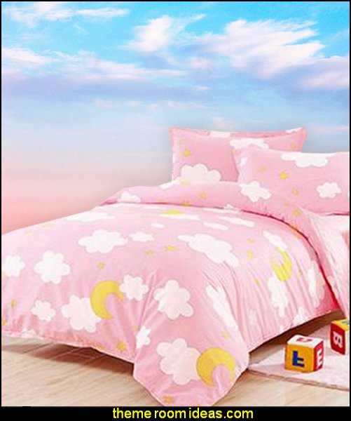 Clouds and Moon Pattern Kids Duvet Cover Set   cloud theme decorating ideas - clouds wall murals - cloud wall decals - cloud decorations - cloud wallpaper - sky wall murals -  cloud wall stickers - clouds bedding - clouds duvet covers - Sky themed bedrooms