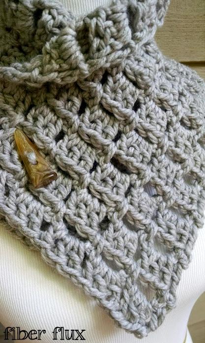 Fiber Flux Free Crochet Patternrgaret Button Cowl