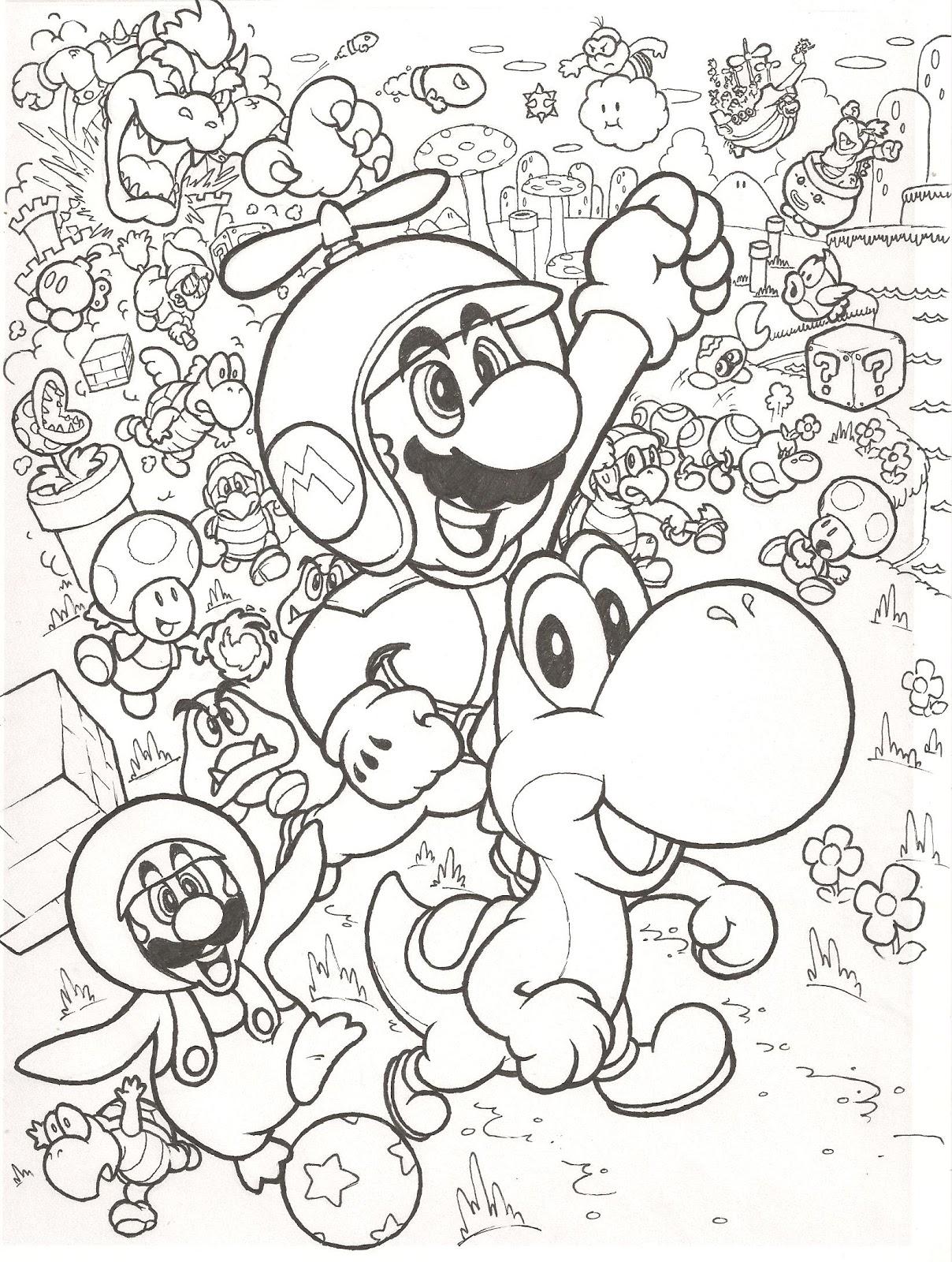 Colorir e pintar colorir e pintar o super mario bros for Mario color pages