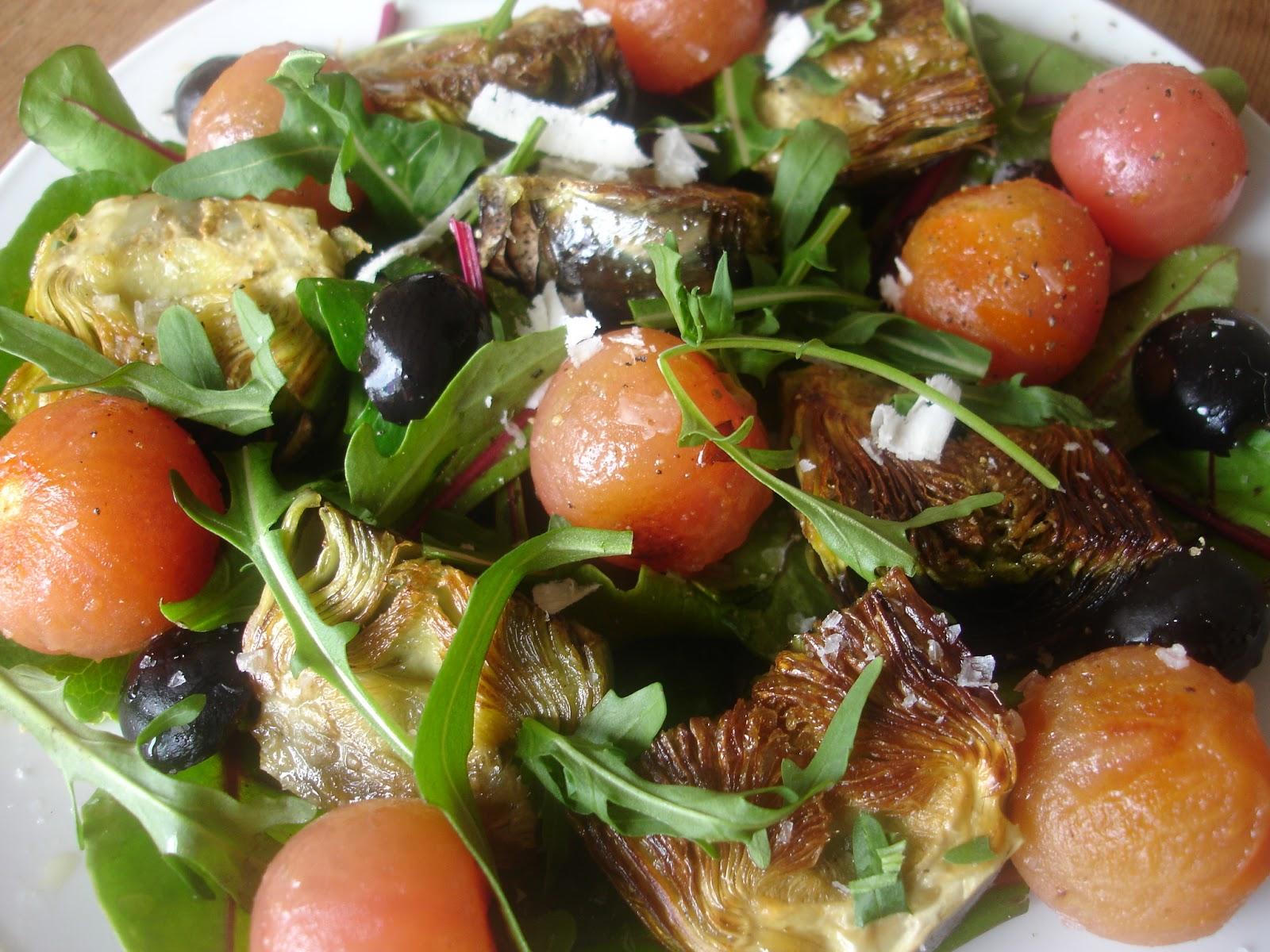 kochbuch f r max und moritz artischocken kirschtomaten salat frei nach lea linster. Black Bedroom Furniture Sets. Home Design Ideas