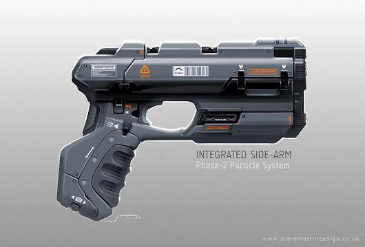 R O B O M O T O S:  Jamie Martin's 2D concept art, 3D designs, videos, graphics and more...: D/S Integrated Sidearm (Phase-2 Variant)