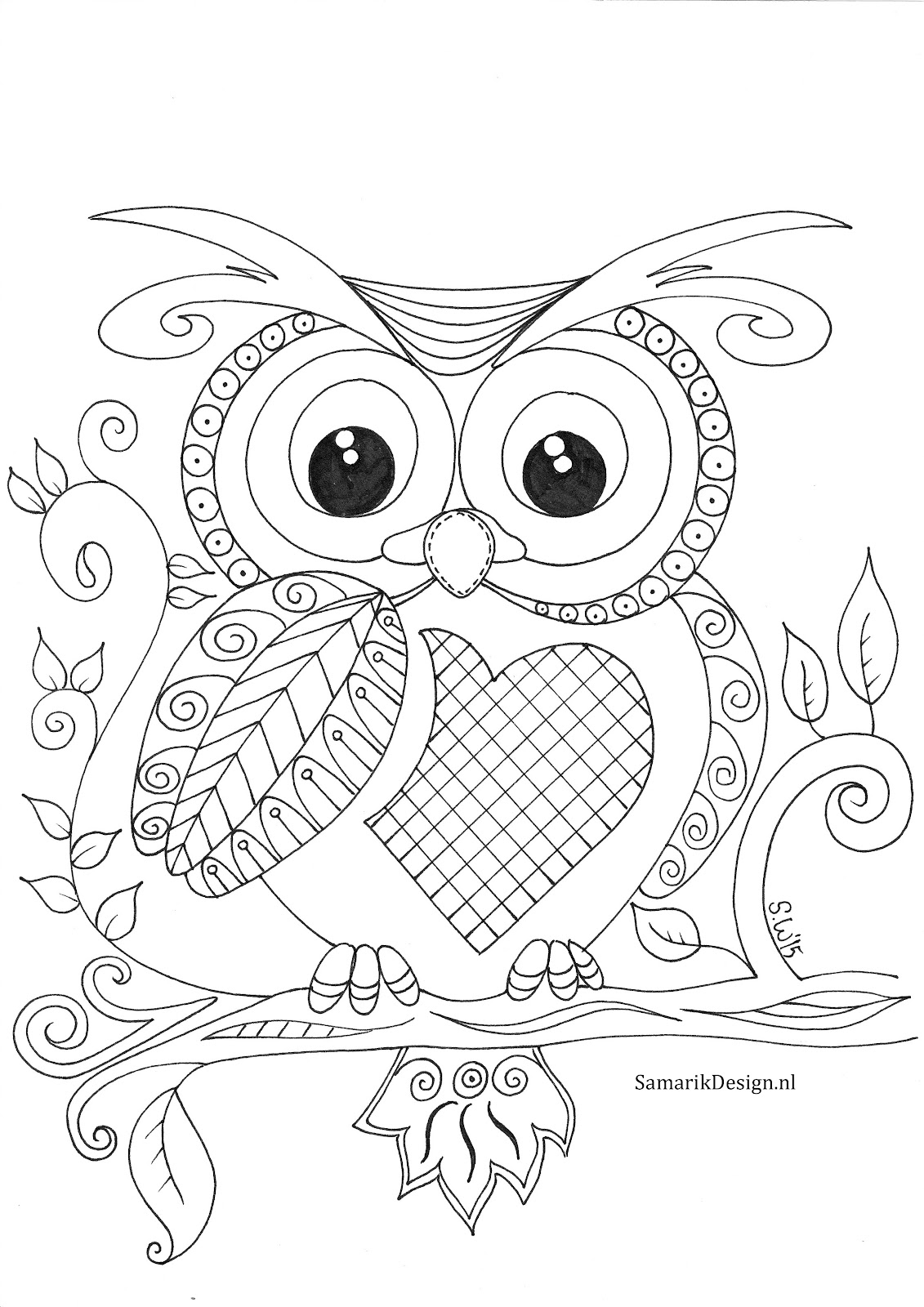 Owl Doodle Coloring Page