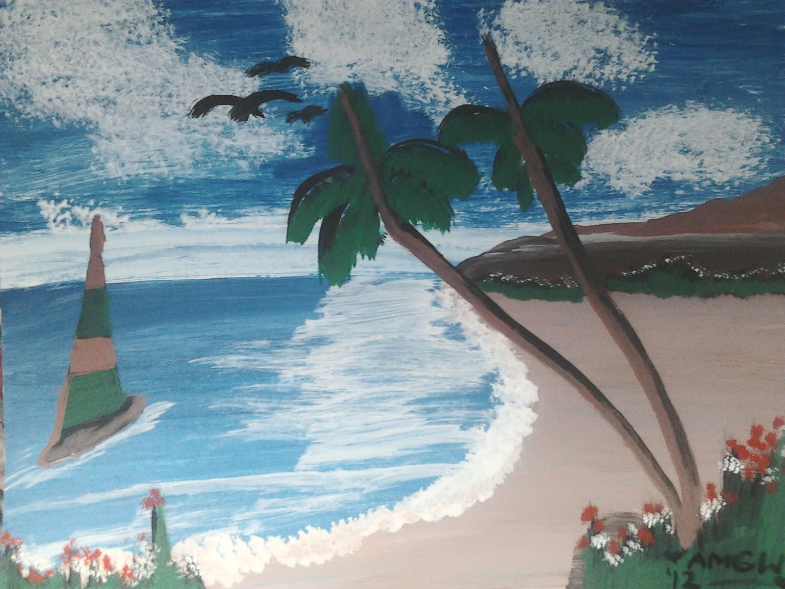Lukisan Pemandangan Pantai Yang Mudah Ditiru 44916 Loadtve