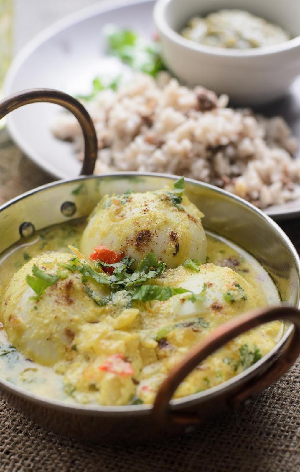Vegetarian Eggs in Spiced Yogurt Sauce