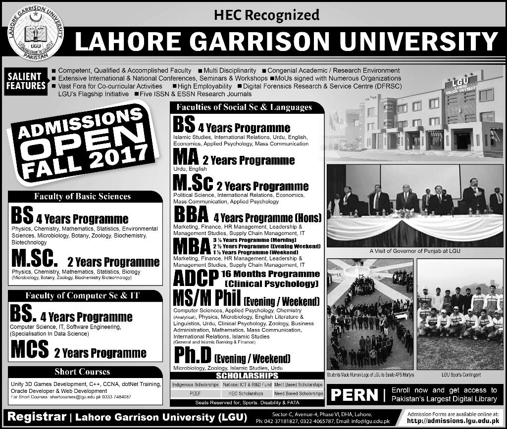 Admissions Open in Lahore Garrison University - 2017