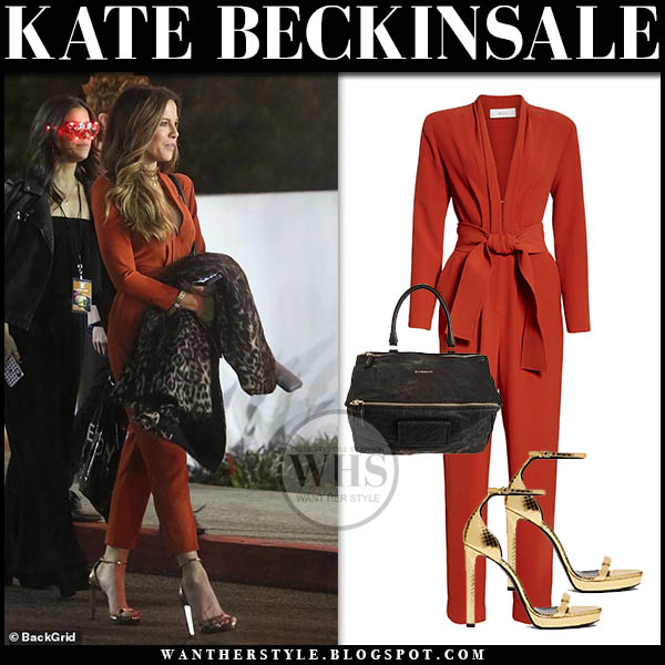 Kate Beckinsale in terracotta orange jumpsuit with gold metallic sandals saint laurent hollywood style february 2