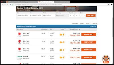 Harga tiket pesawat Bandung-Surabaya. Sumber : Pegipegi.