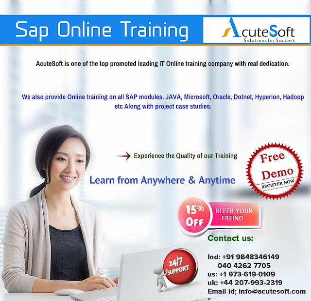 sap online training from AcuteSoft with real time projects