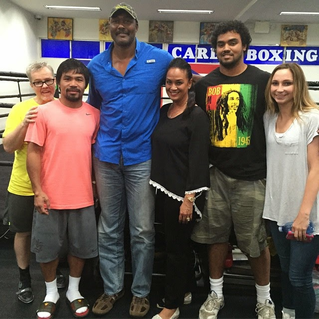 Manny Pacquaio & Karl Malone and family