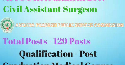 APVVP Recruitment 2017 - 129 Civil Assistant Surgeons ( Specialists)