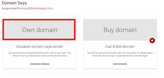 pilih own domain