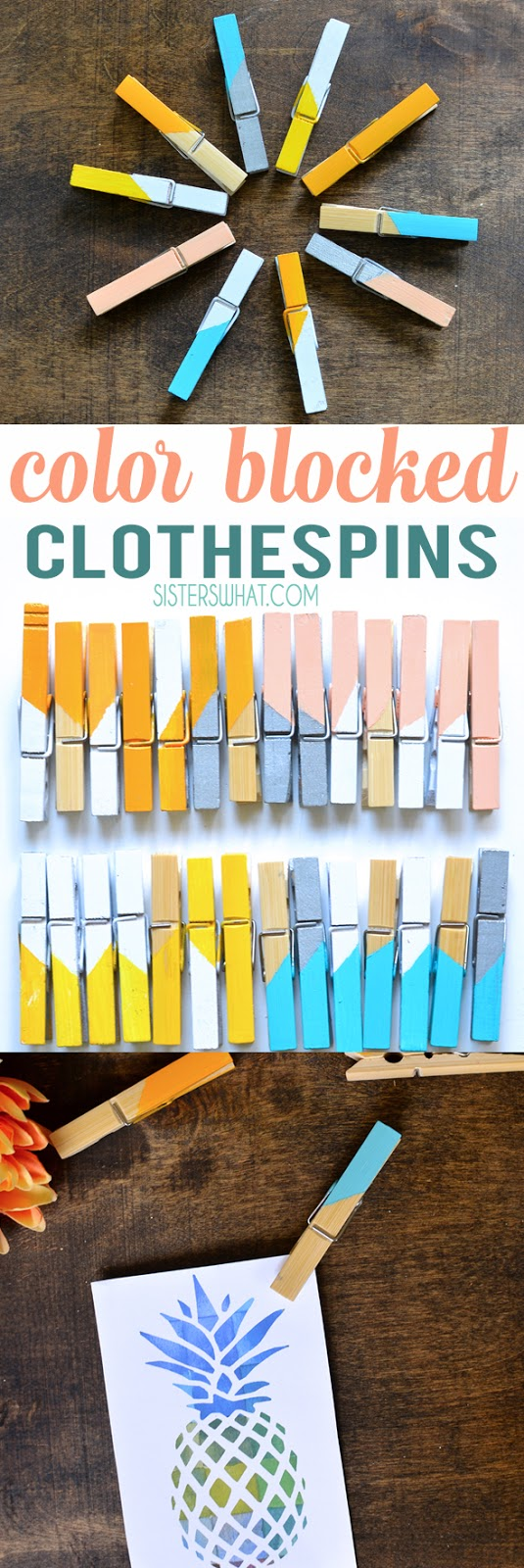 an easy one hour craft DIY color block painted clothespins craft