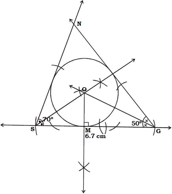OMTEX CLASSES: 8. Construct incircle of ∆SGN such that SG