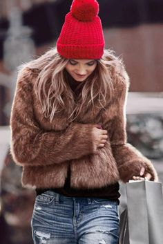 image result for street fashion winter red beanie fur coat distressed denim