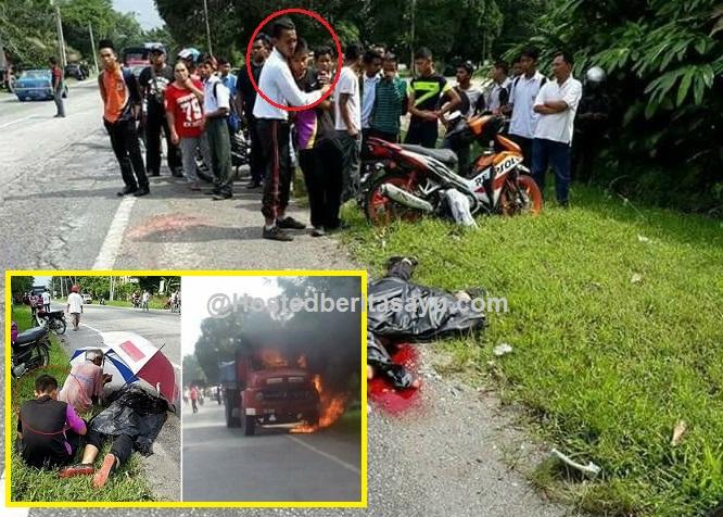 SAYU !! Maafkan aku Hanif motosikal ditunggang bergesel lori.. Sahabat dibonceng jatuh lalu digilis (10 Gambar)
