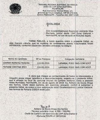 Laranjal: Josmar é o primeiro candidato a ter o registro deferido pela Justiça Eleitoral