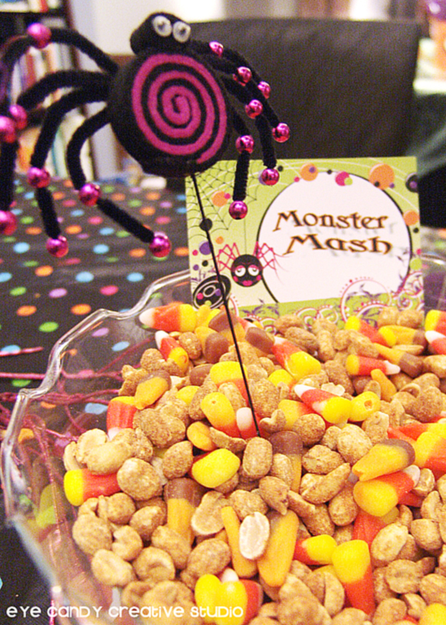 monster mash, peanuts and candy corn, snacks for halloween party
