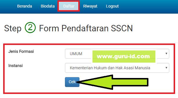 gambar form pendaftaran sscn formasi cpns 2017