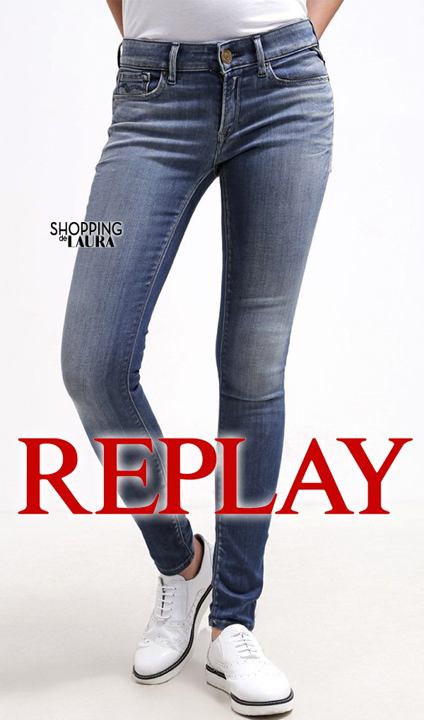 Jean femme slim bleu taille basse Replay