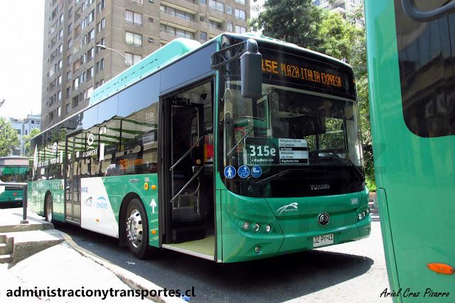 Bus eléctrico Transantiago en recorrido 315e