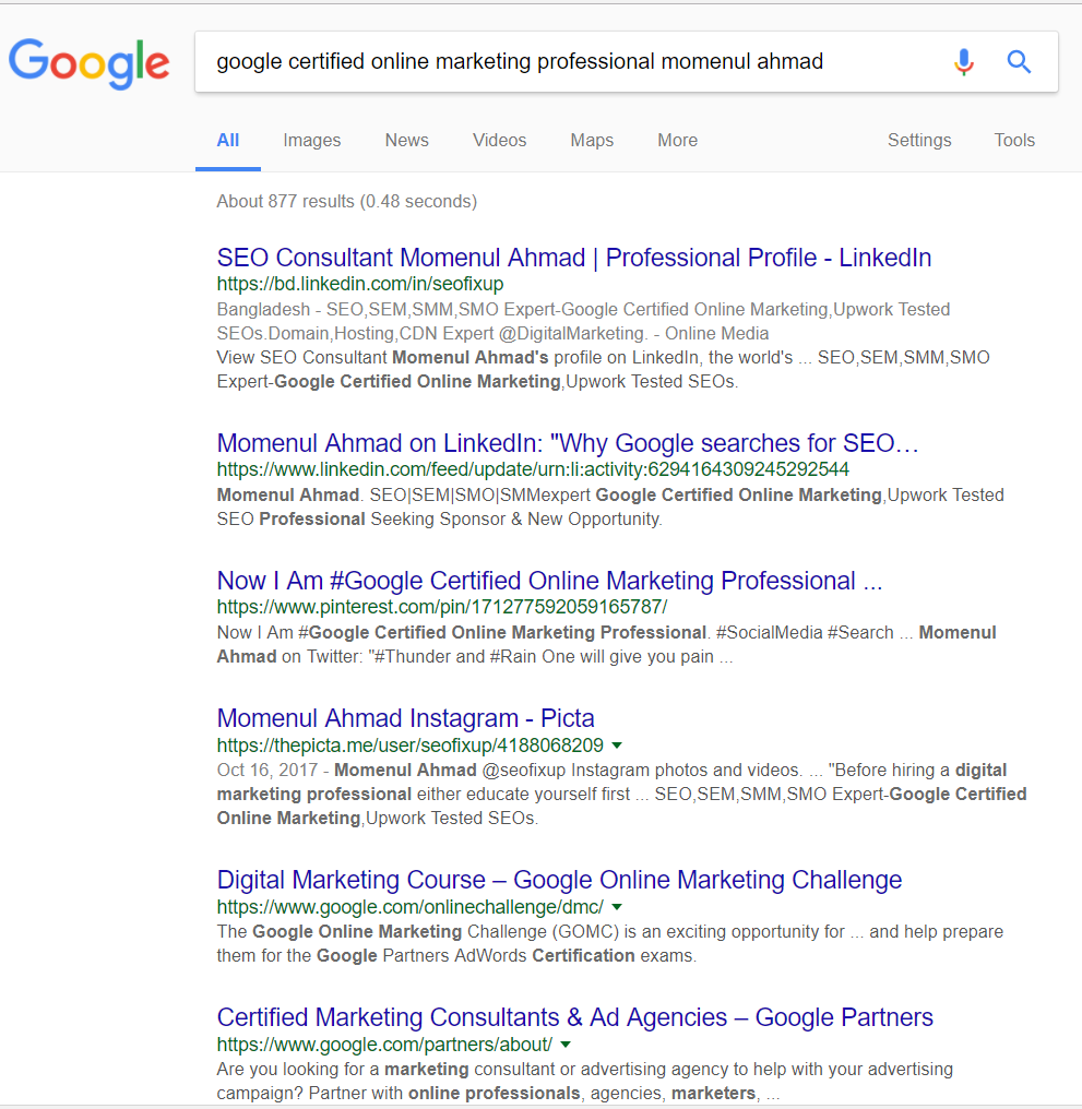 Seo siri google certified online marketing professional momenul ahmad 1betcityfo Image collections