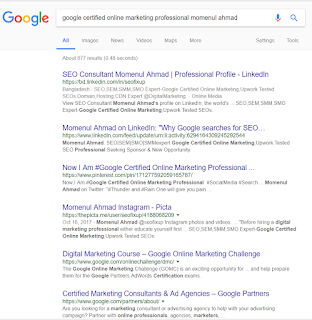 google certified online marketing professional momenul ahmad