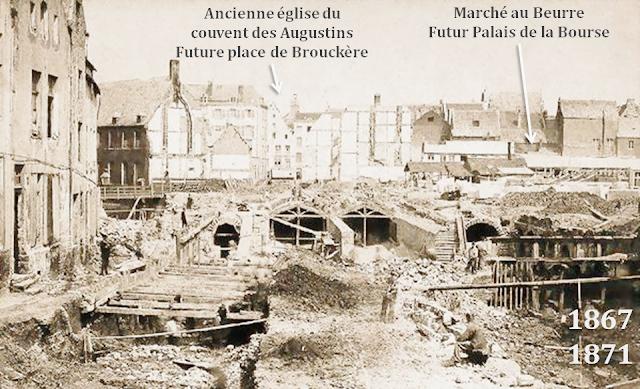 Bruxelles - Place de la Bourse - Travaux de voûtement de la Senne entre 1867 et 1871 - Le chantier fera place au boulevard du Centre et le Marché au beurre sera bientôt remplacé par le Palais de la Bourse - Bruxelles-Bruxellons