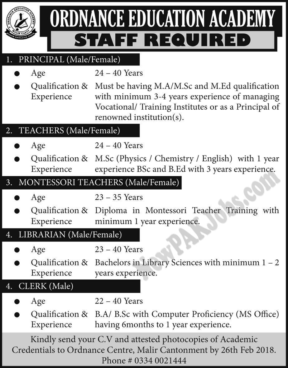 Ordinance Education Academy Latest Jobs for Male and Female 2088