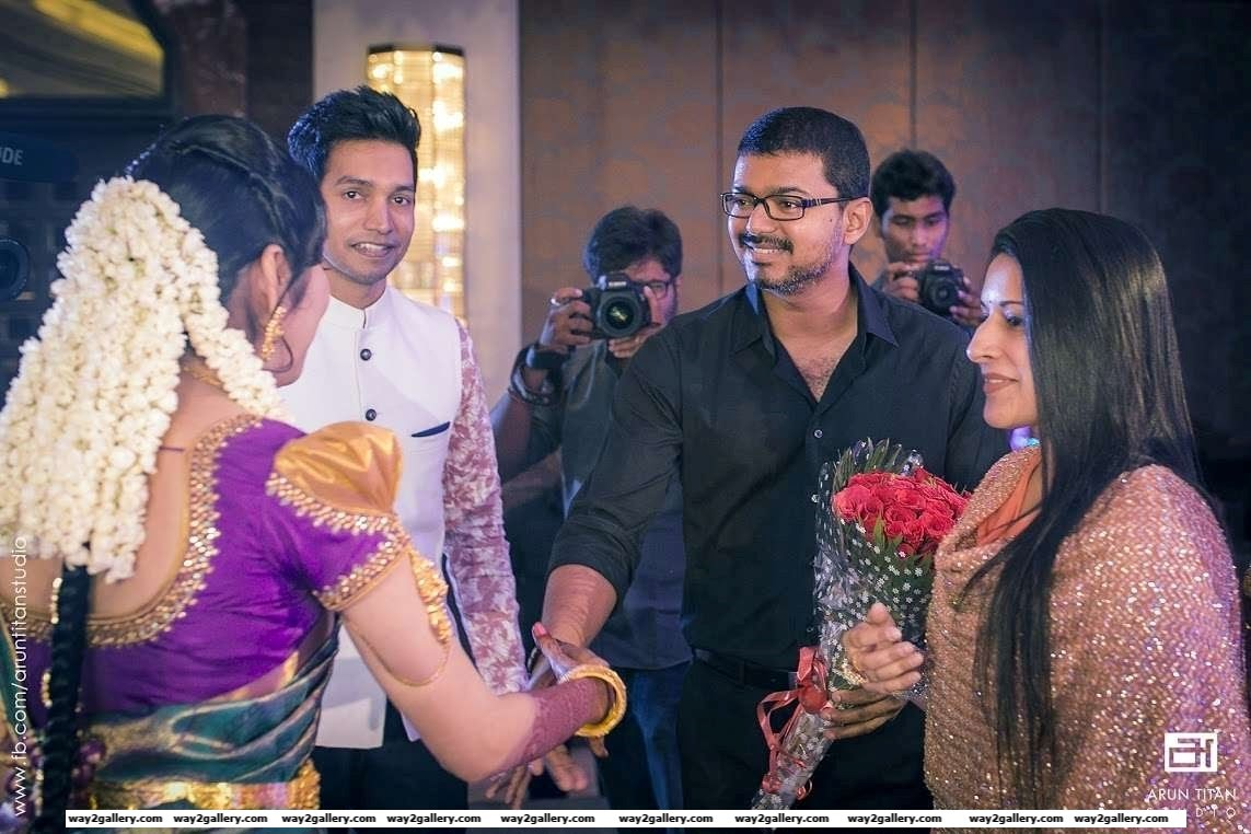 Vijay and wife Sangeeta graced Jothiram and Pavithras engagement