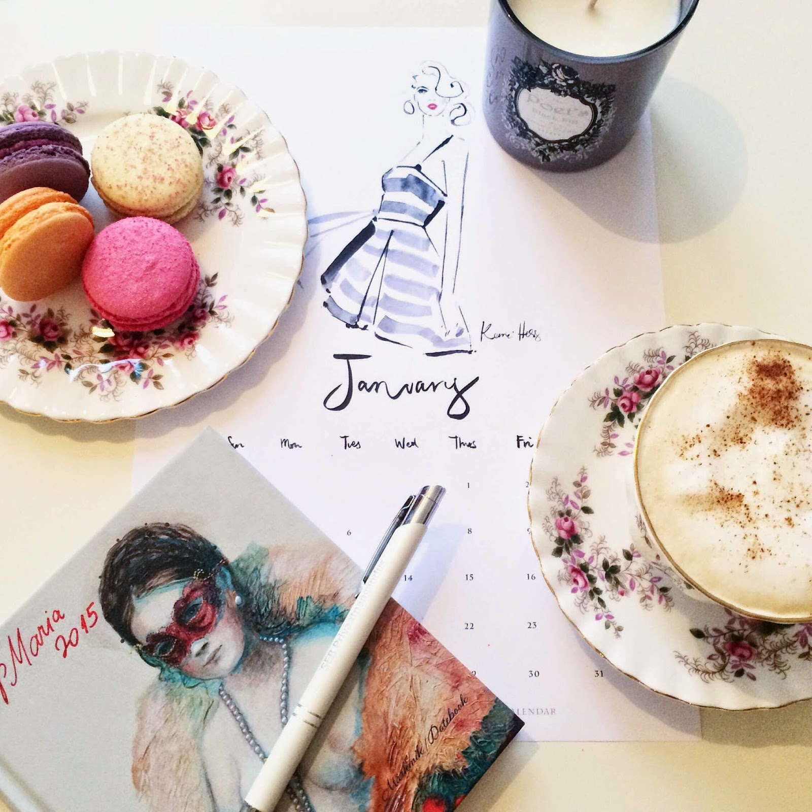 kerrie-huss-january-calendar-macarons-coffee-candle-notebook