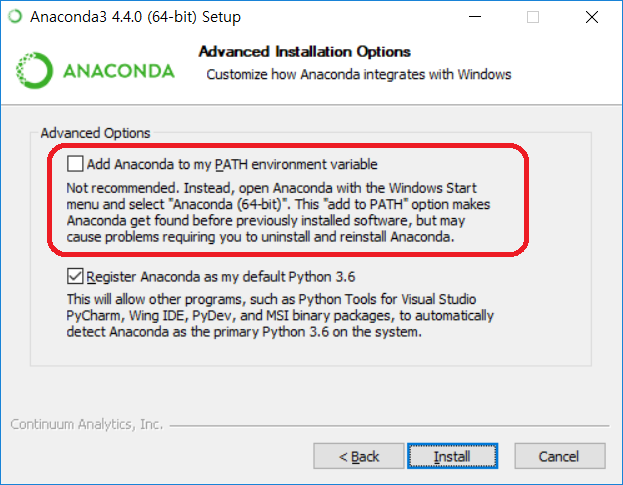 Anaconda3 설치 - Path 환경 변수 설정 여부