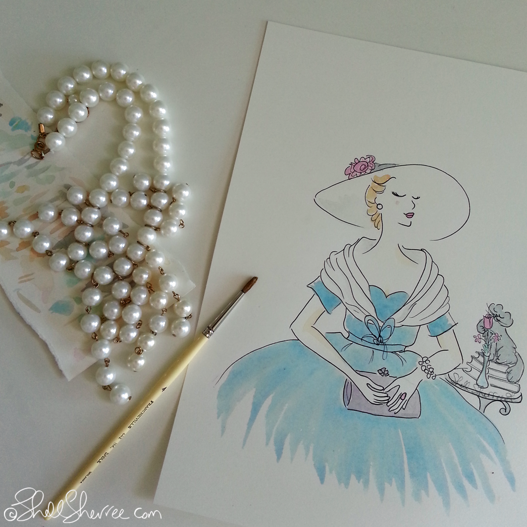 Vintage Fashion Illustration, J'Adore Dior in Turquoise © Shell-Sherree