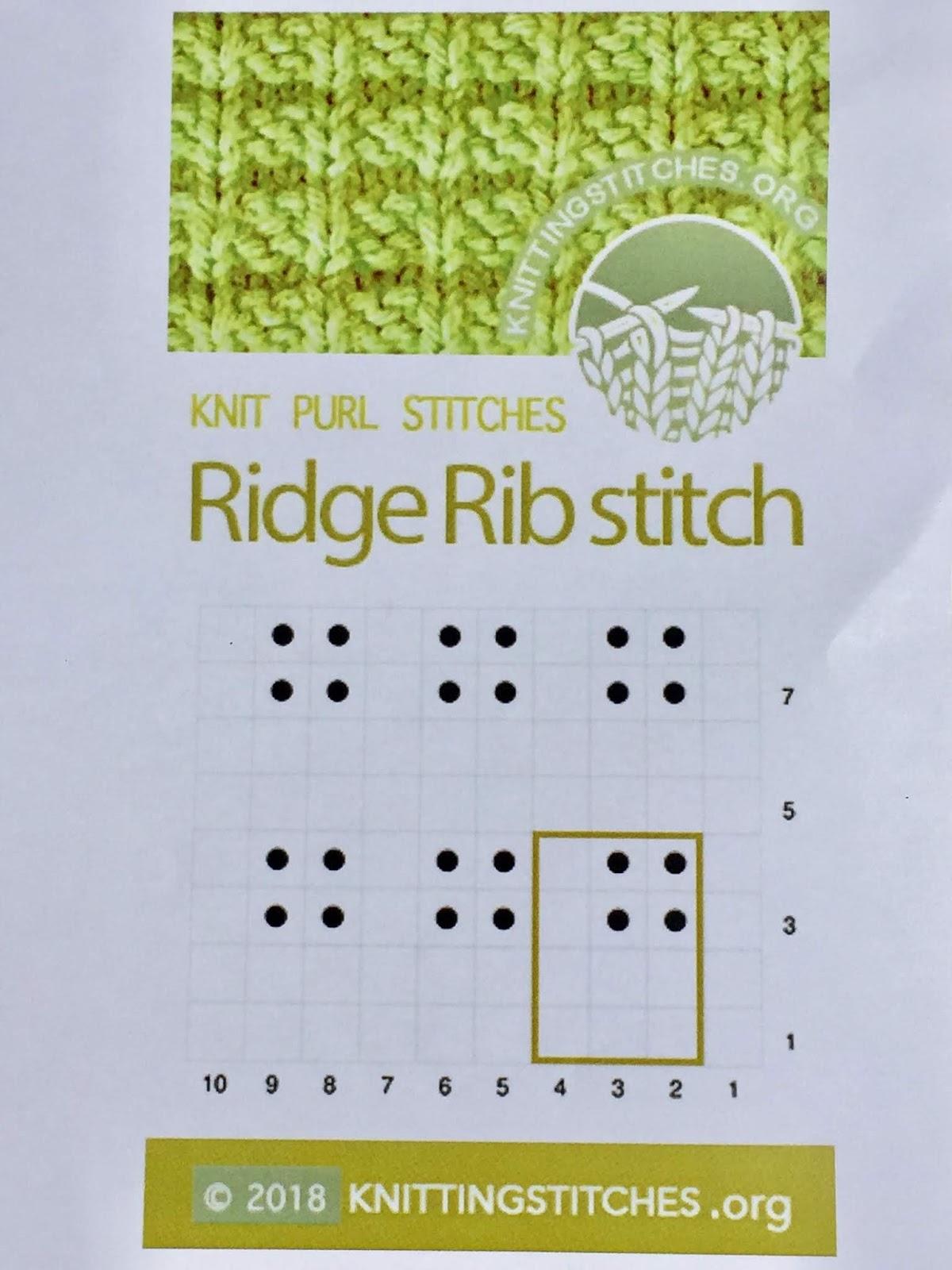 Knitting Stitches 2018 - Ridge Rib stitch pattern