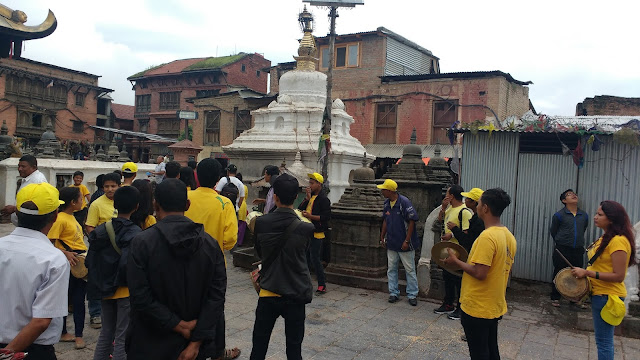 Local group of people inside Swayambhunath