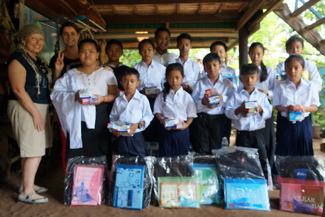 Twelve kids from the most disadvantaged communities Kampong Chamlong received school supplies, uniforms, medicine and hygiene products