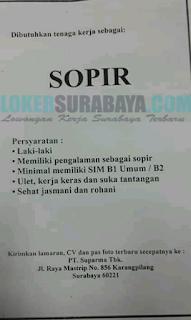 Lowongan Kerja SUPIR (DRIVER) di PT. Suparma Tbk Surabaya Terbaru April 2019