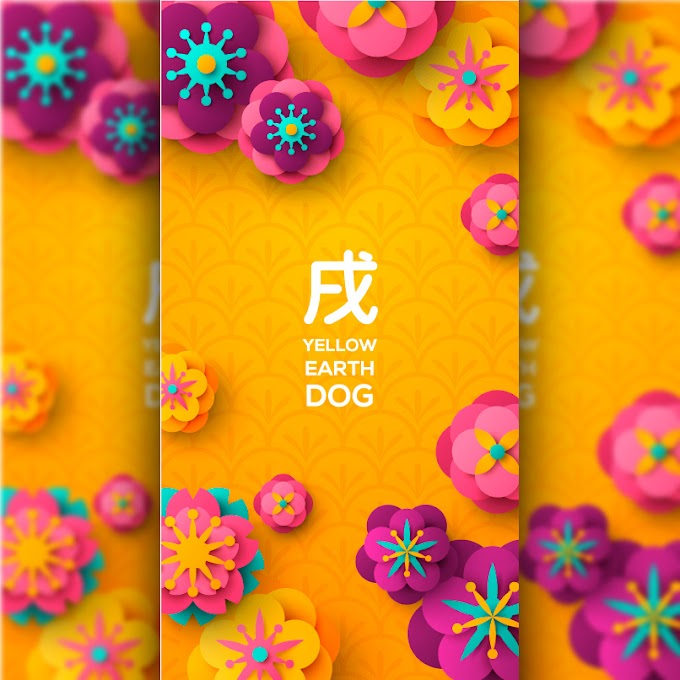 Chinese New Year - Year of the dog scrapbooking elements poster free vector