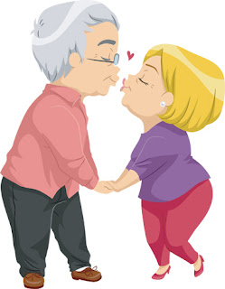 Clipart Image of a Senior Couple Kissing