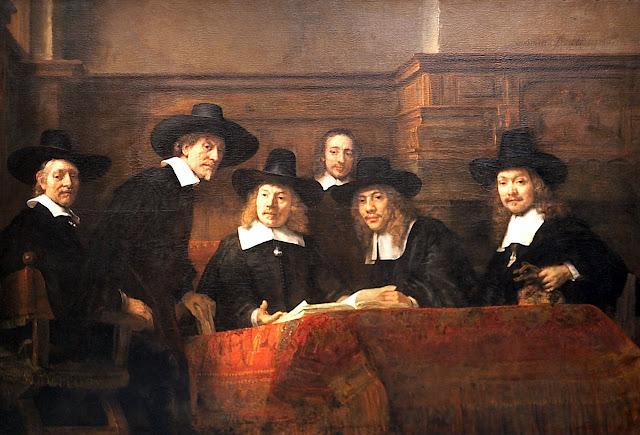 """""""Os síndicos dos mercadores de tecidos"""", Rembrandt"""