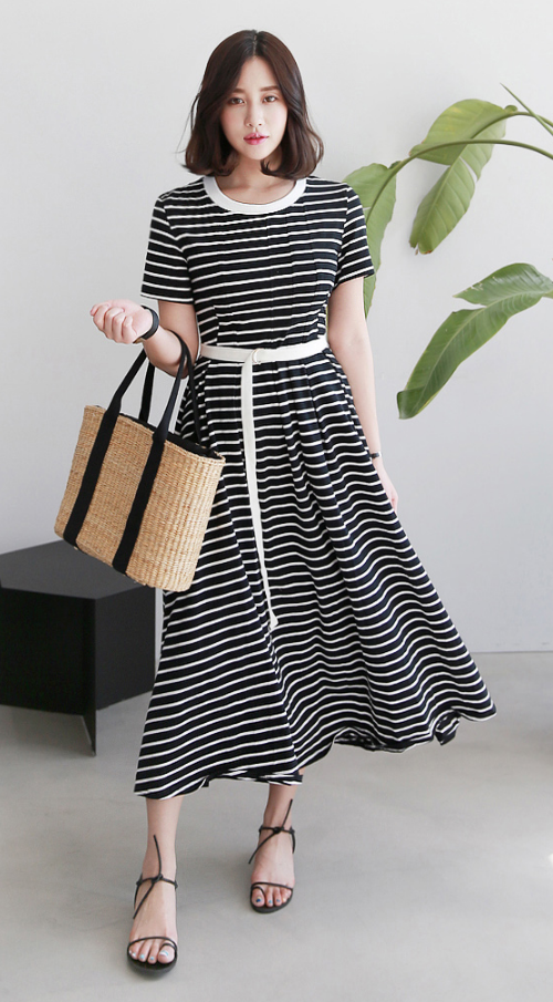 Striped Belted Midaxi Dress