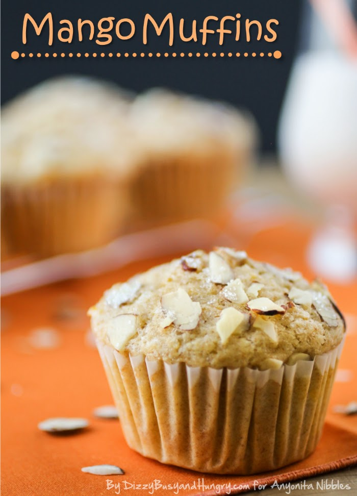 Mango Muffins made from whole wheat flour on Anyonita NIbbles from Dizzy Busy and Hungry