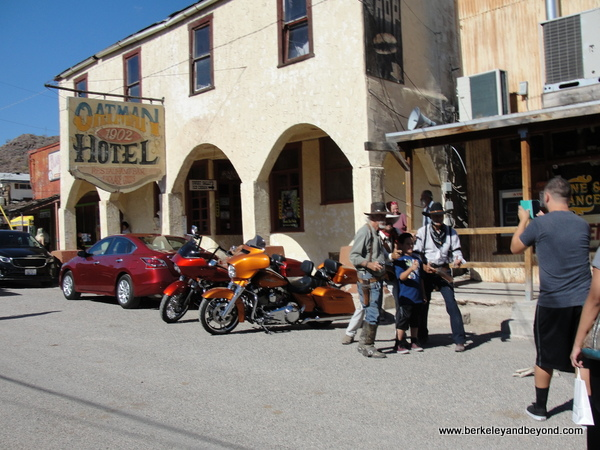 shootout in front of Oatman Hotel in Gold Rush town of Oatman, Artizona