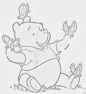 desenho ursinho pooh com borboletas