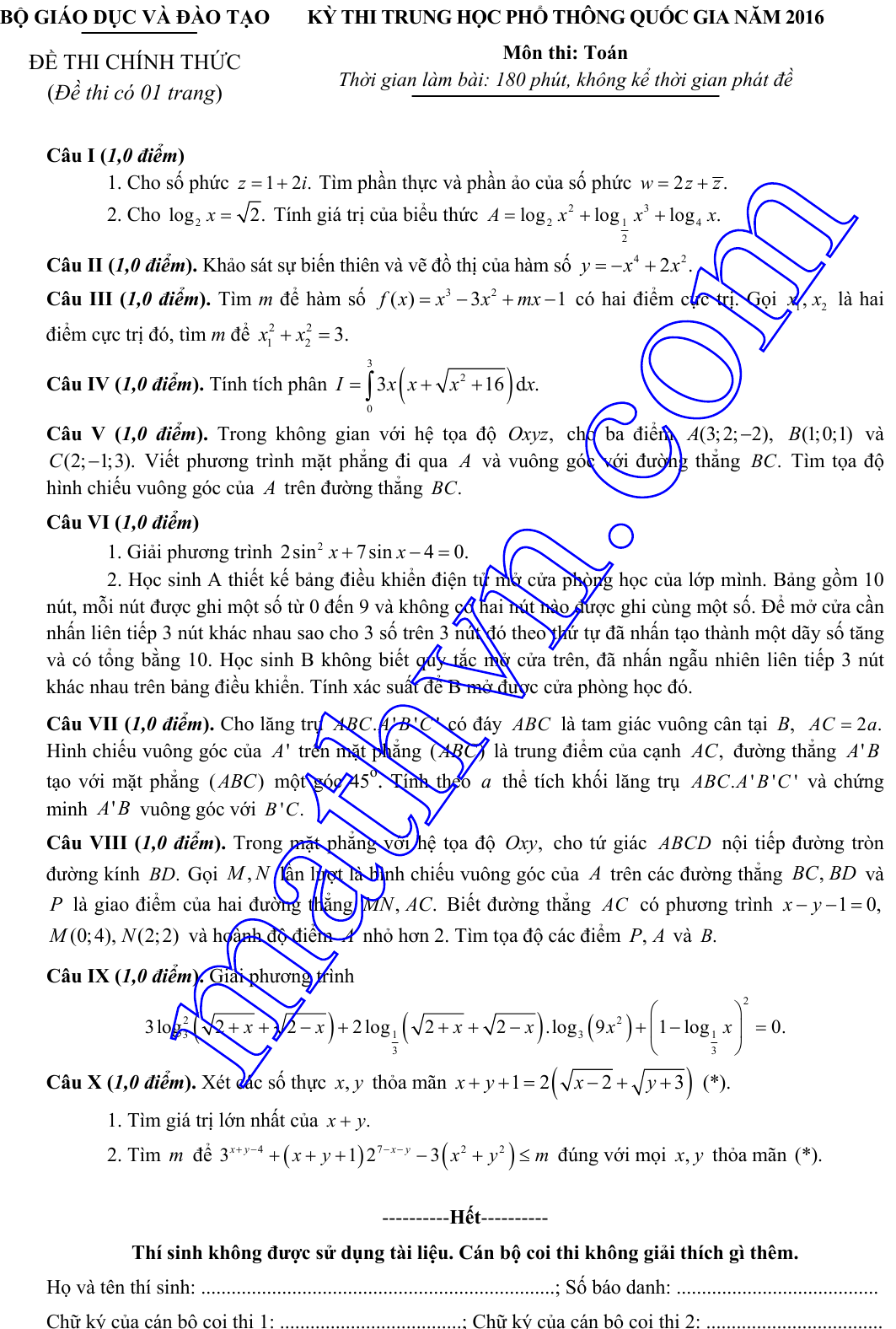 đề thi môn toán thpt quốc gia 2016