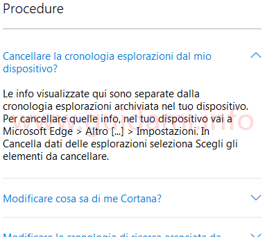Sezione Procedure pagina web gestione privacy dati account Microsoft