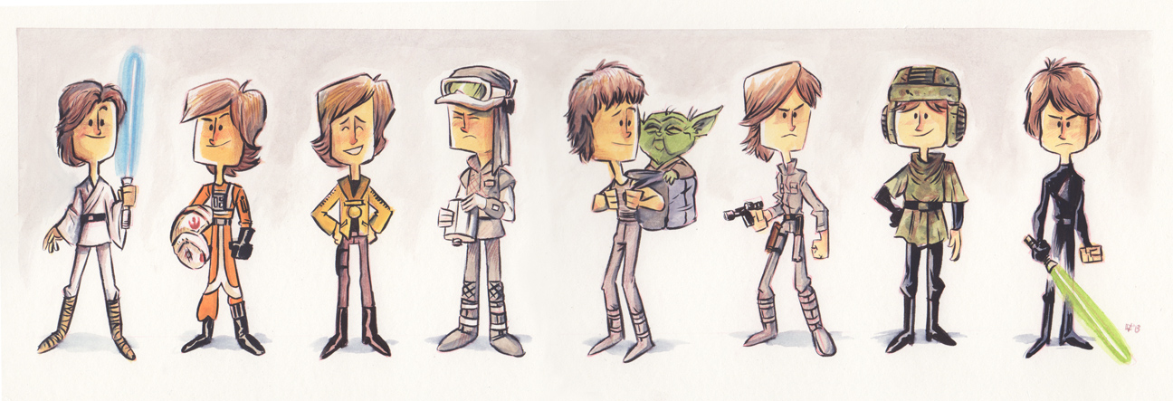 Evolución de Luke Skywalker, por Jeff Victor