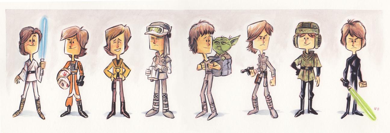 Evolución de Luke Skywalker, por Jeff Victor