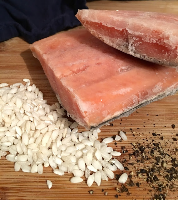 ingredients for salmon and rice in crockpot